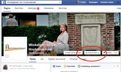 Facebook like actie winkelgebied Van Hoytemastraat