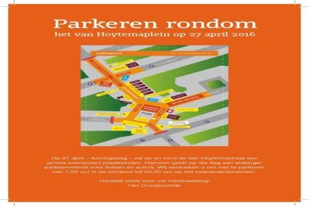Parkeer informatie Koningsdag 2016 van Hoytemastraat